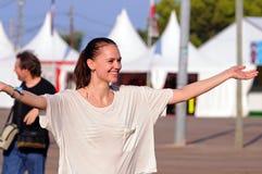 A woman full of joy at FIB (Festival Internacional de Benicassim) 2013 Festival Royalty Free Stock Photos