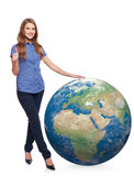 Woman in full length with earth globe Royalty Free Stock Images