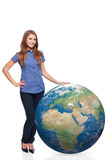 Woman in full length with earth globe Royalty Free Stock Image