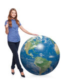 Woman in full length with earth globe Stock Photography