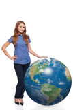 Woman in full length with earth globe Stock Photo