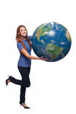 Woman in full length holding earth globe Royalty Free Stock Image