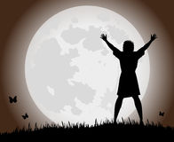 Woman and full moon Royalty Free Stock Photography