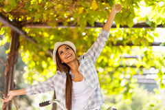 Woman fun outdoors Royalty Free Stock Photo