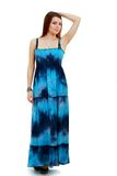 Woman in funky blue dress Stock Photography