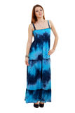 Woman in funky blue dress Royalty Free Stock Photos