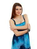 Woman in funky blue dress Stock Photos