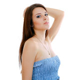 Woman in funky blue dress Royalty Free Stock Photography