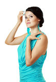 Woman in funky light blue dress Royalty Free Stock Photos