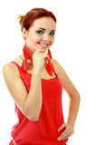 Woman in funky red dress Royalty Free Stock Photo