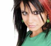 Woman with funky stylish hair Stock Images