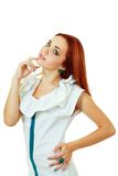 Woman in funky white dress Stock Photography