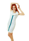 Woman in funky white dress Stock Photos