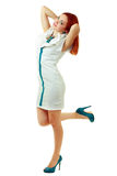 Woman in funky white dress Royalty Free Stock Photos