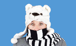 Woman with funny bear hat Royalty Free Stock Images