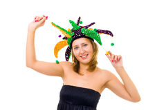 Woman in funny cap make a fool Stock Image