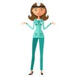 Woman funny cartoon scientist doctor presenting flat cartoon vec Stock Photos