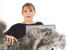 Woman with funny cat Stock Photography