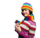 Woman in funny color hat Stock Photo