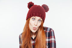 Woman with funny face Stock Image