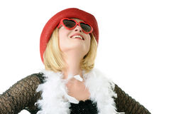 Woman with funny glasses Royalty Free Stock Photography