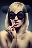Woman with funny glasses Royalty Free Stock Image
