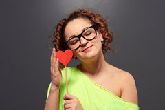 Woman in funny glasses with paper heart Royalty Free Stock Photo