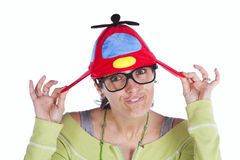 Woman with a funny hat Royalty Free Stock Photos
