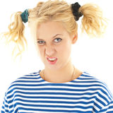 Woman with a funny look on her face Royalty Free Stock Photos