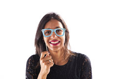 Woman with funny paper glasses Stock Photo
