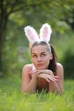 Woman with funny rabbit ears Stock Photography