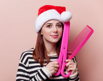 Woman with funny scissors Stock Image