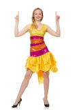 The woman in funny sparkling yellow dress isolated on white Royalty Free Stock Image