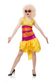 The woman in funny sparkling yellow dress isolated on white Stock Photography