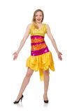The woman in funny sparkling yellow dress isolated on white Stock Image