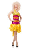 The woman in funny sparkling yellow dress isolated on white Royalty Free Stock Photography