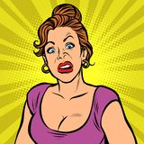 Woman with a funny surprised face royalty free illustration