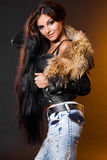 Woman with fur Royalty Free Stock Photo