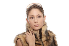 Woman in fur Stock Images