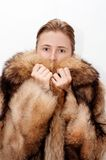 Woman in fur. Of racoon royalty free stock images