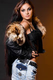 Woman with fur Stock Photo
