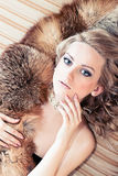 Woman with fur Royalty Free Stock Photography