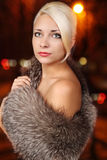 Woman in a fur Stock Photo