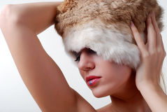 Woman and fur Stock Images