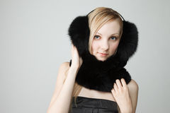 Woman with fur around neck Royalty Free Stock Images
