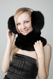 Woman with fur around neck Stock Photos