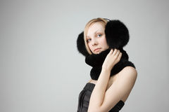 Woman with fur around neck Stock Photo