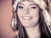 Woman in fur cap Royalty Free Stock Photography