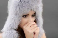 Woman in fur cap Royalty Free Stock Image