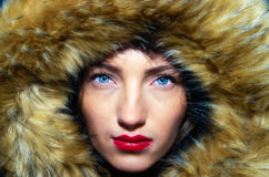 Woman in the fur Stock Images